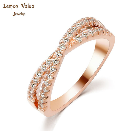 Lemon Value Unique Romantic Austria Crystal infinite Rings 18k Gold Plated Cross Finger Ring Zircon Rings Women Jewelry P033 - On Trends Avenue