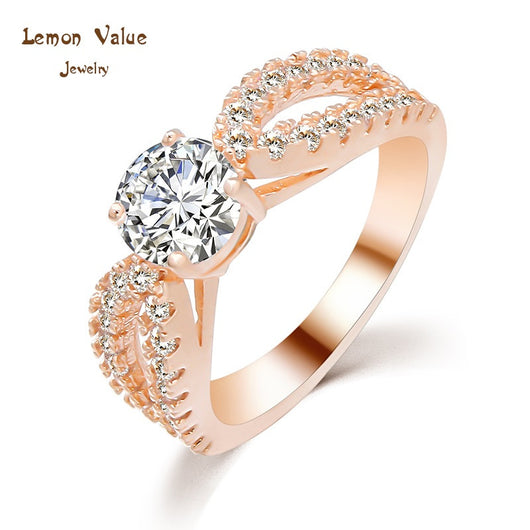 Lemon Value New Design Luxury 18K Gold Plated Female Wedding Ring Romantic Crystal Zircon Water Drop Ring Women Jewelry P029 - On Trends Avenue