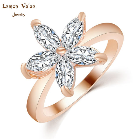 Lemon Value New Fashion Luxury 18K Gold Plated Female Wedding Ring Romantic Crystal Zircon Big Flower Ring Women Jewelry P028 - On Trends Avenue