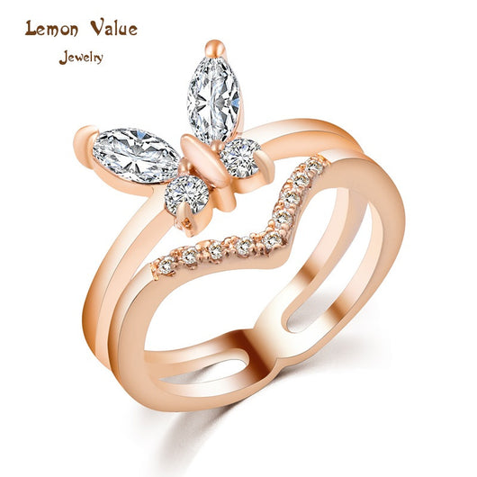 Lemon Value Fashion Luxury 18K Gold Plated Multilayer Female Ring Butterfly Crystal Zircon Wedding Ring Women Jewelry Gift P027 - On Trends Avenue