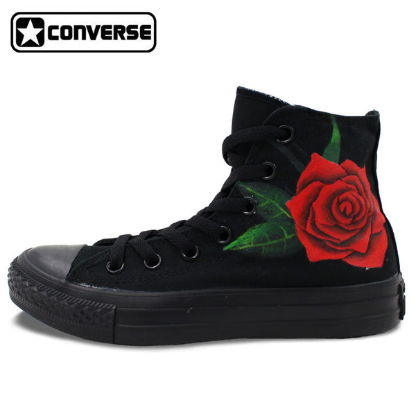 All Black Converse Chuck Taylor Shoes Woman Man Floral Red Roses Original Design High Top Sneakers Women Men Skateboarding - On Trends Avenue