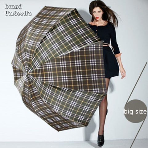 British style Oversized Lattice Fold Anti-UV Sun/Rain umbrella rain women/men Stick Outdoor Umbrella brand Manual Big Parasol