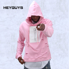 hot mens hip hop pink hoodies sweat suit tracksuit men with the hole hoodies men fashion set male streetwear - On Trends Avenue