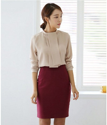 Pencil Skirt Women Plus Size High Waist Slim Hips Candy Color Formal Saias Feminino Lady Classic Knee Length Office Skirts - On Trends Avenue