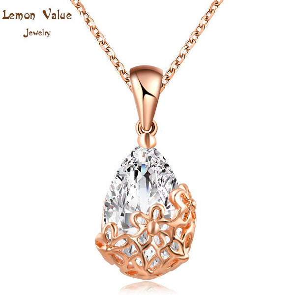 Lemon Value Romantic Austria Crystal Pendant Necklace Fashion Luxury Collar Statement Choker Zircon Necklaces Women Jewelry P007 - On Trends Avenue