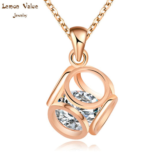 Lemon Value Romantic 18K Gold Plated Geometry Pendant Necklace Fashion Austria Crystal Choker Zircon Necklace Women Jewelry P003 - On Trends Avenue