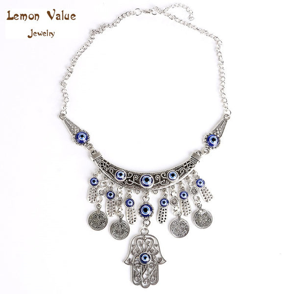 Lemon Value Statement Choker Vintage Bohemia Evil Eye Collar Turquoise Tassels Hamsa Hand Pendant Necklace Women Jewelry A021 - On Trends Avenue