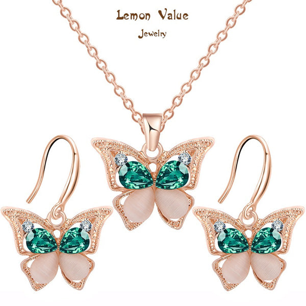 Lemon Value New Design Classic Opal Butterfly Pendant Necklace Earrings Fashion Green Crystal Jewelry Sets Women Party Gift A001 - On Trends Avenue