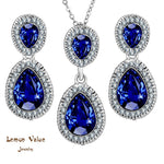 Lemon Value Romantic Luxury Blue Water Drop Pendant Necklace Earrings Charms Female Crystal Jewelry Sets Women Wedding Gift A168 - On Trends Avenue