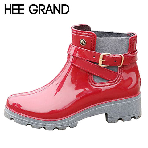 HEE GRAND Rain Boots Women Ankle Boots Casual Rubber Platform Shoes Woman Creepers Slip On Flats Fashion Rainboots XWX4505