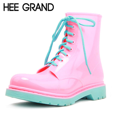 HEE GRAND Rain Boots Candy Colors Platform Women Ankle Boots Lace-Up Casual Shoes Woman Pink Women Flats Shoes XWX4145