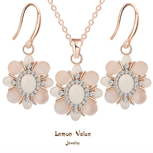 Lemon Value Romantic Crystal Flower Jewelry Women Charms Zircon Pendant Necklace Earrings Set Bridal Wedding Accessories A219 - On Trends Avenue