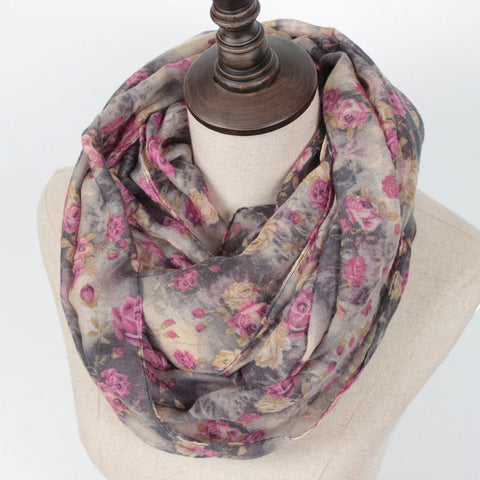 Warm Women Flower Loop Scarf Female Small Rose Print Chevron Ring Scarves Winter Plants Infinity Shawl Wrap - On Trends Avenue