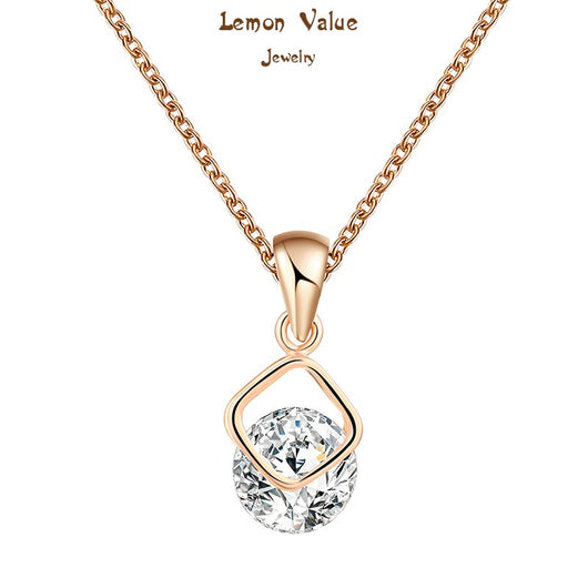 Lemon Value Fashion 18K Gold Plated Luxury Zircon Crystal Water Drop Pendant Necklaces Women Romantic Wedding Jewelry P056 - On Trends Avenue