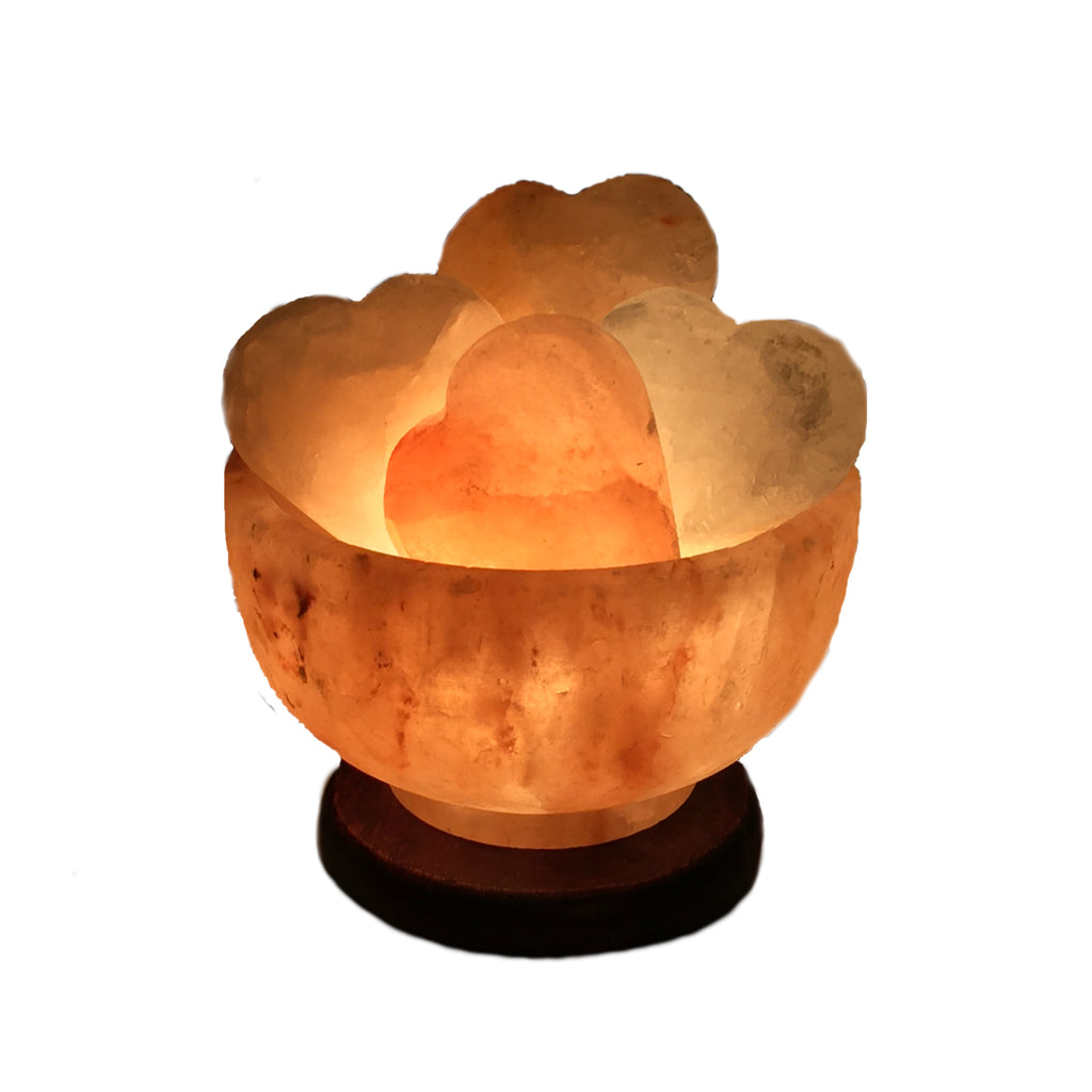 Himalayan Crystal Salt Lamp | Fire Bowl- Abundance Bowl with Heart Shaped Massage Stones