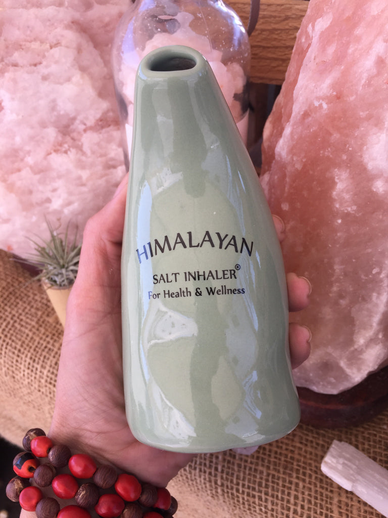 NATURAL CERAMIC SALT INHALER & PINK HIMALAYAN SALT 200G