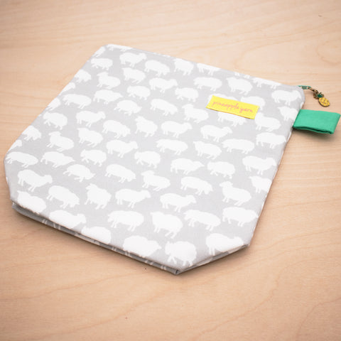 Grey and White Sheep Project Bag