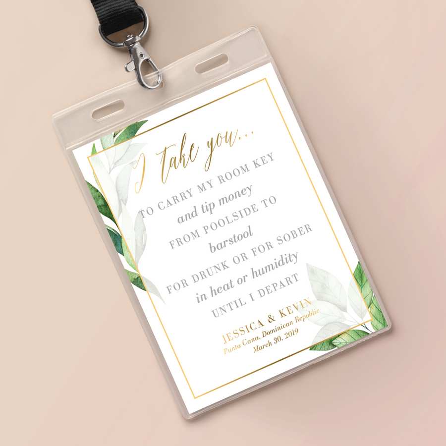 Wedding Key Card Holder Inserts