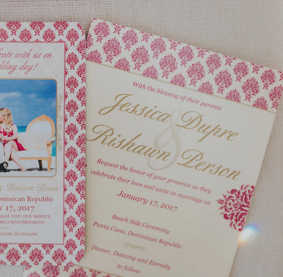 Fuchsia & Gold Damask, Dominican Republic, Destination Wedding Invitation // DIGITAL