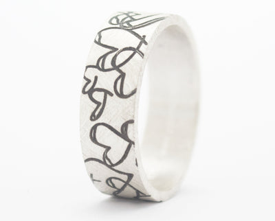 "Addon argent brossé, ""coeur en pagaille"" - mood bague interchangeable - mood customizable ring -  swiss made"