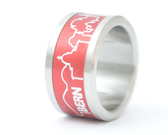 Bague City Berne - base small en acier, interchangeable 11mm, avec un addon en aluminium anodisé 11mm City Berne