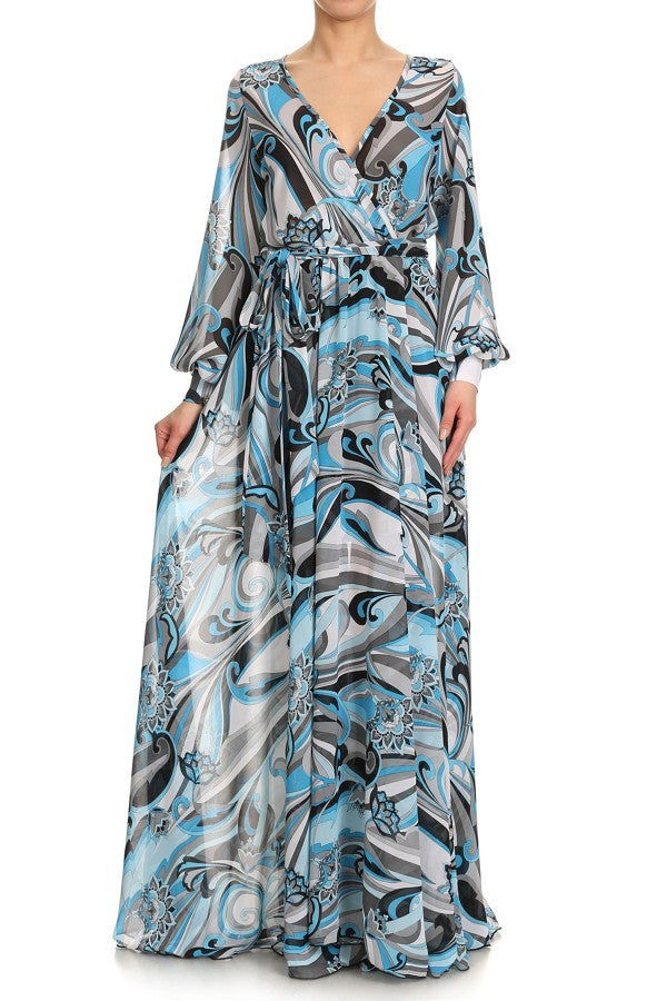 ANITA ABSTRACT FLORAL PRINTED, CHIFFON MAXI DRESS