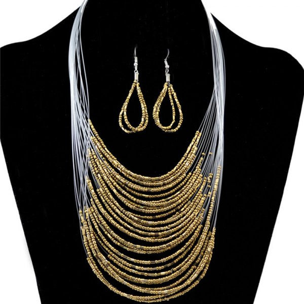 Set of Bohemian Multilayer Necklace and Earrings