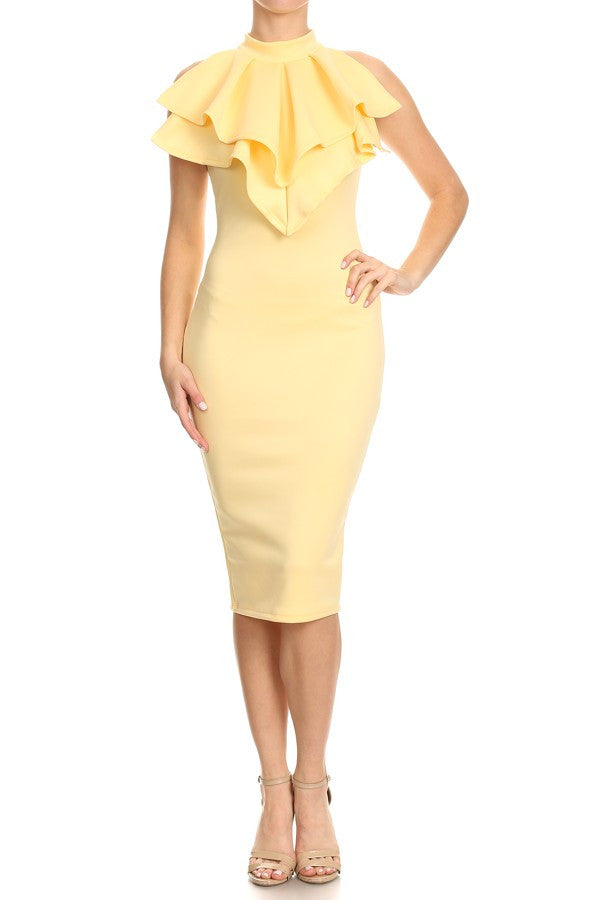 EDET YELLOW SOLID RUFFLE DETAILS SLEEVELESS MIDI DRESS