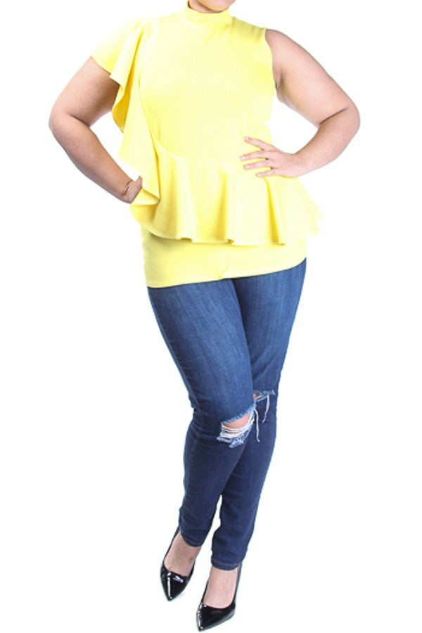 MELLIE  YELLOW CURVILICIOUS RUFFLED DETAILING VERTICAL TOP