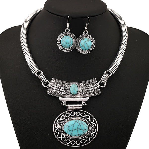 Hollowed Oval Faux Gem Rhinestone Geometric Jewelry Set