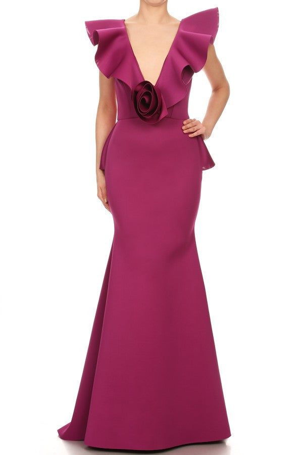 Jolie Magenta Mermaid Style Ruffle Dress ( PRE-ORDER)