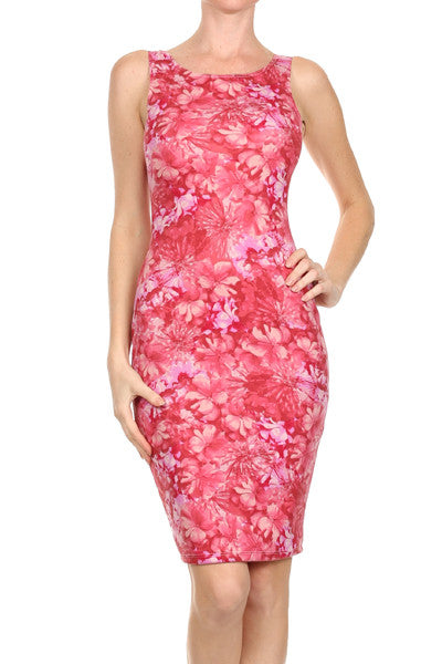 JOANITA RED GARDEN PRINTS SLEEVELESS DRESS