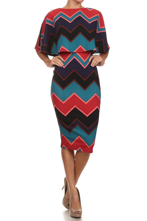 JOSEE PRINT CALF LENGTH LOW BACK RUFFLE MIDI DRESS