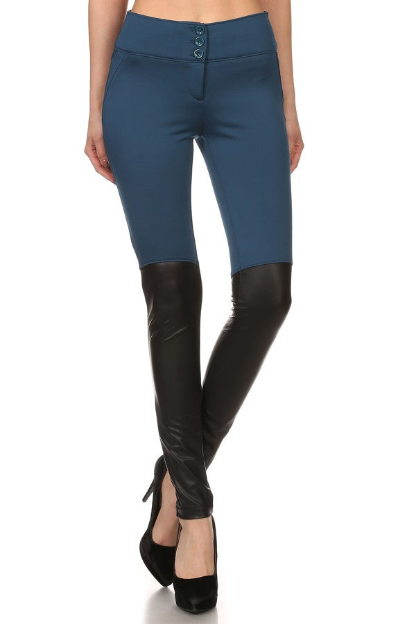 Skinny pants with faux leather panels.