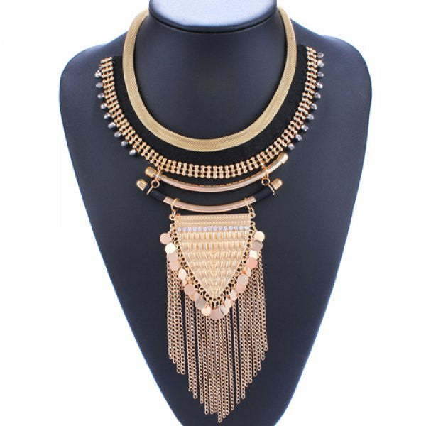 Triangle Rhinestones Coin Fringed Necklace