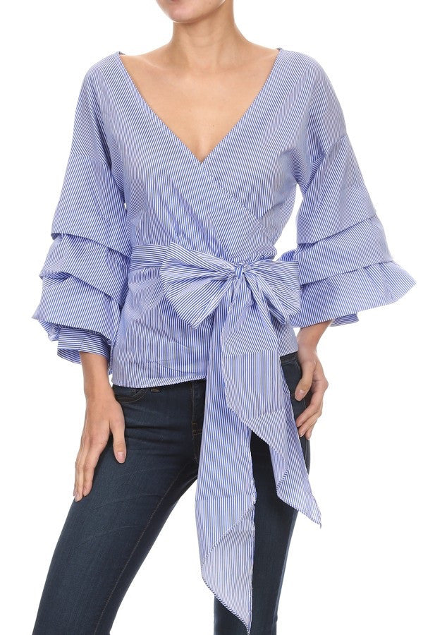 Carla V-neck and bell sleeves  top
