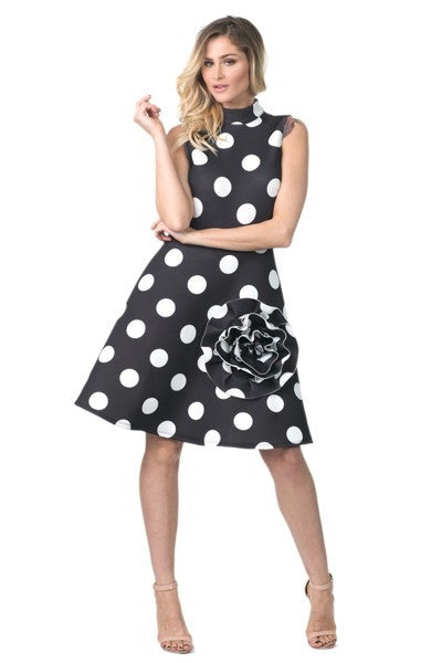 Polka- Dot Curvalicious A Line Dress With Flower Detail