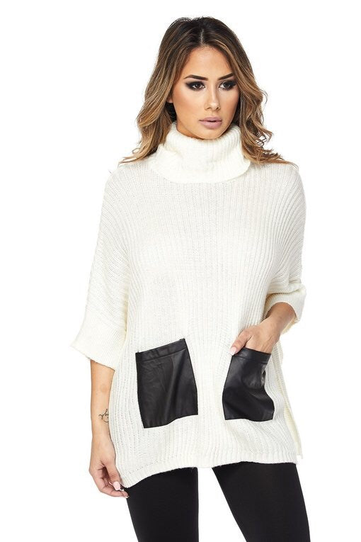 Saffie Turtleneck Faux Leather Pocket Sweater