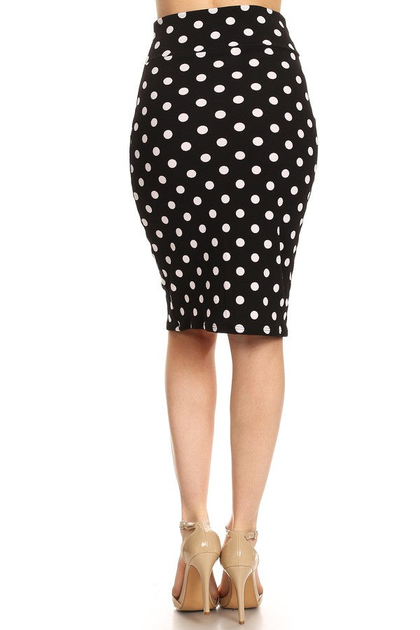 Polka dot printed pencil skirt with banded waist