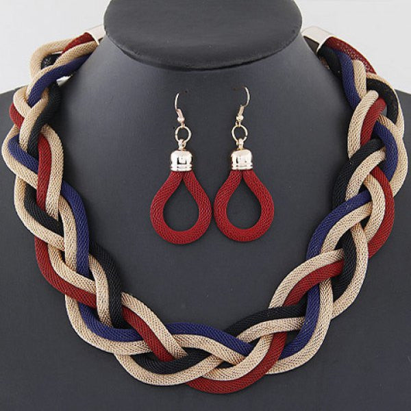 Set of Stylish Braided Chain Necklace and Earrings