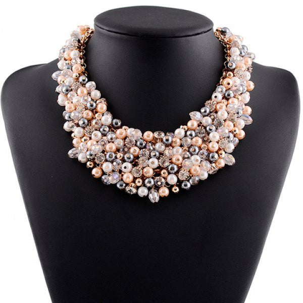 Rhinestone Faux Pearl Hollow Out Necklace With Earrings