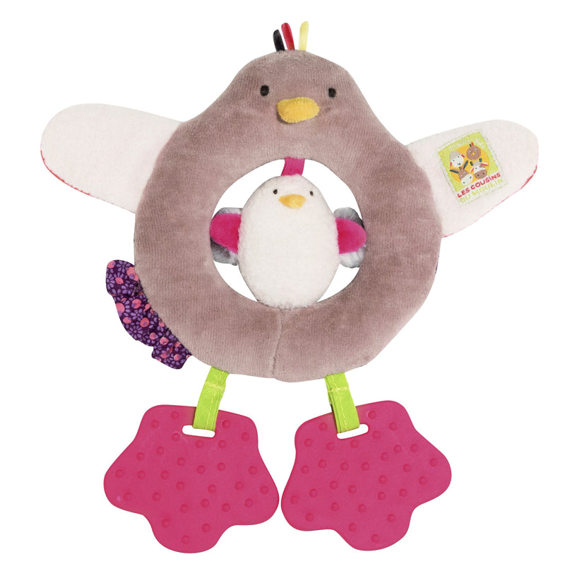 Les Cousins Hen & Chick - Soft Ring Teething Rattle