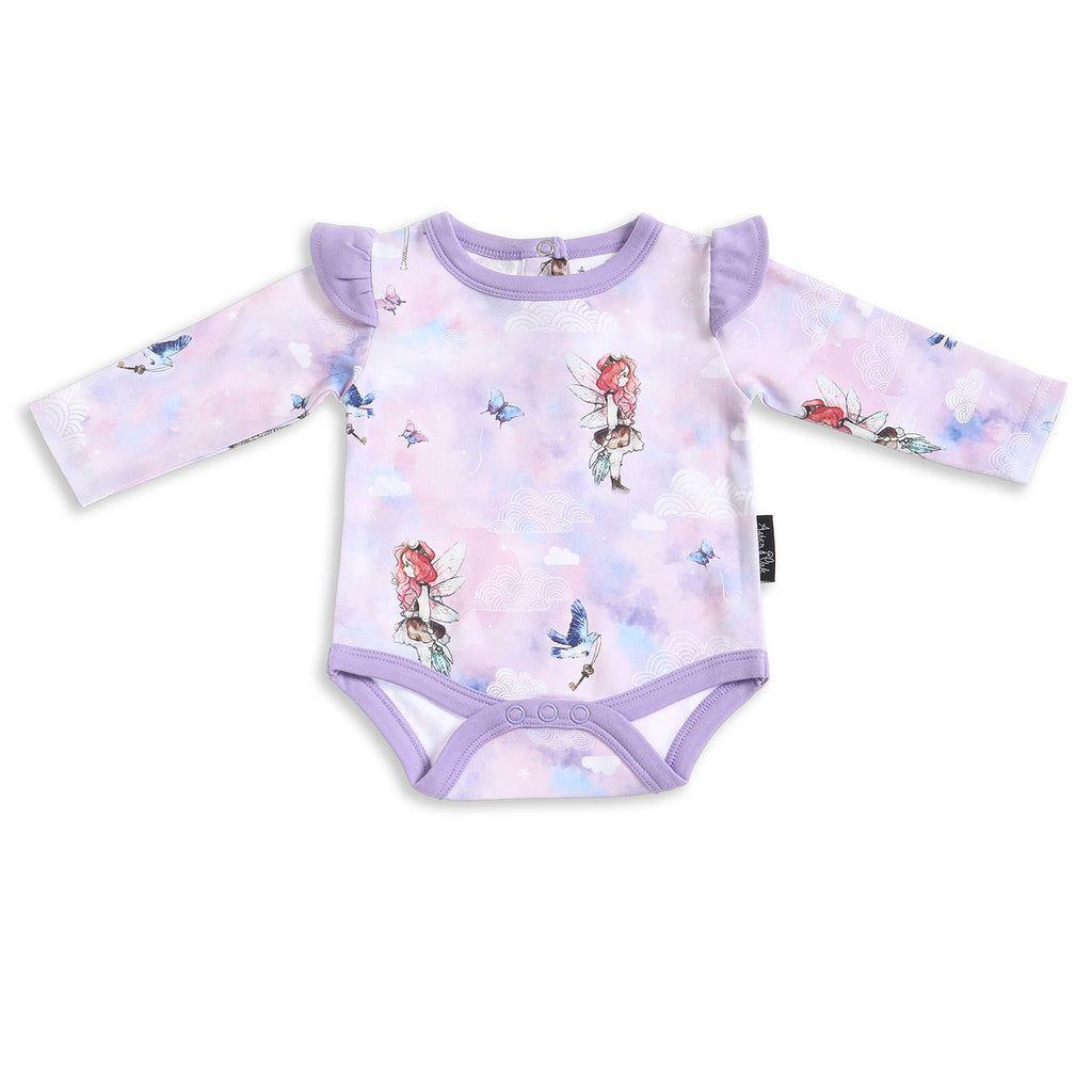 Unicorn & Fairy Lilac Long Sleeve Onesie ORGANIC