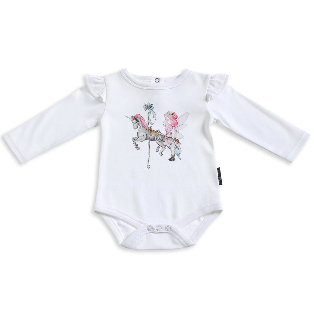Unicorn & Fairy Long Sleeve White Flutter Onesie ORGANIC