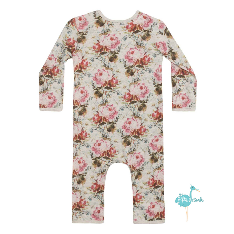 Little Wings Crossover Romper Vintage Roses ORGANIC