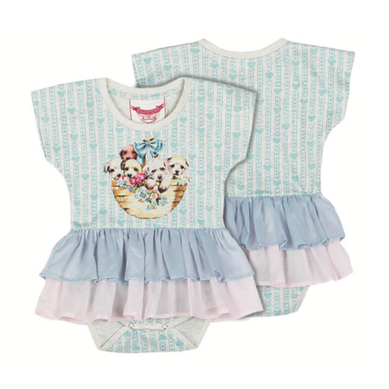 Little Wings by Paper Wings Organic T-Shirt Romper with Voile Frill skirt - Puppy Basket