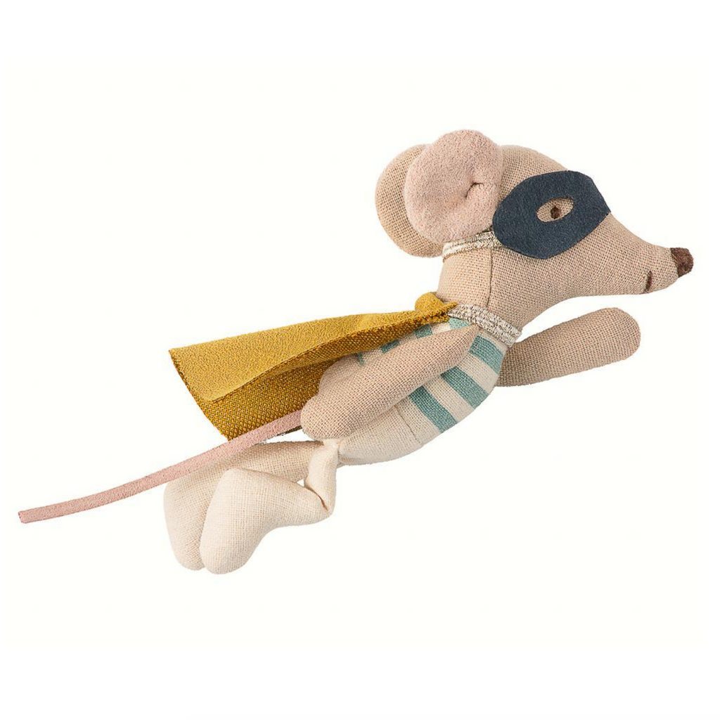 Maileg Superhero Mouse in Tin Suitcase