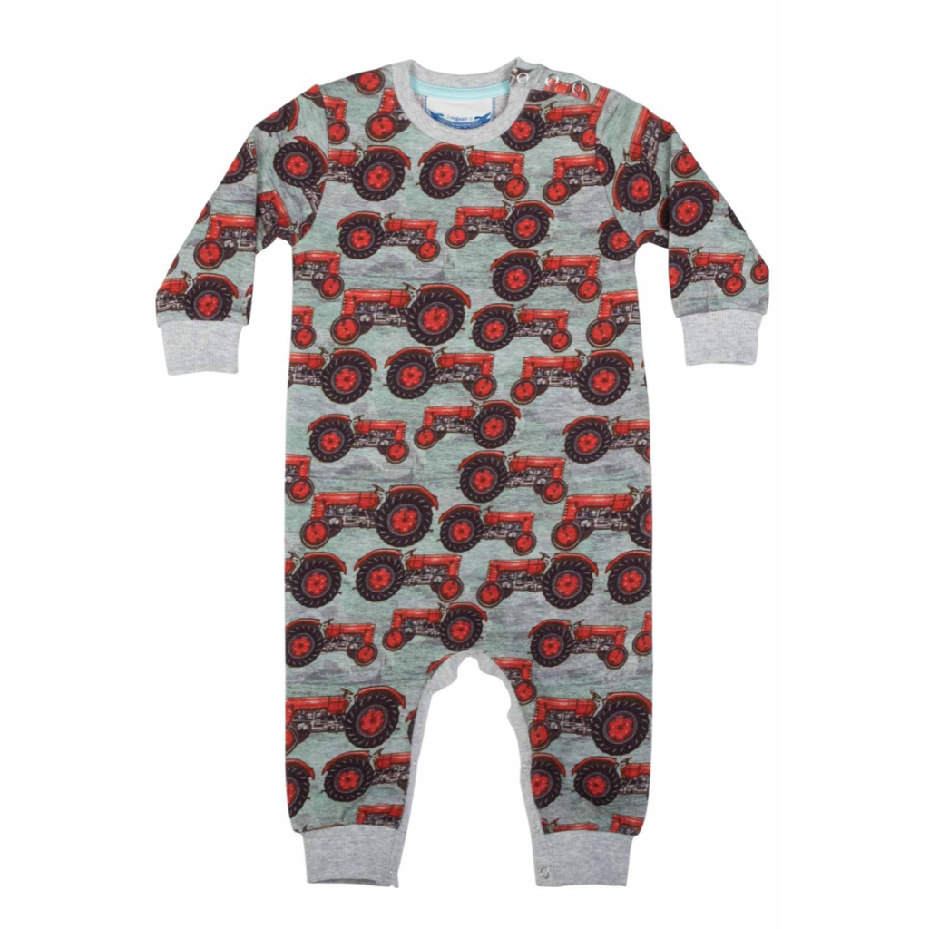 Little Wings by Paper Wings Organic Romper - Vintage Tractors