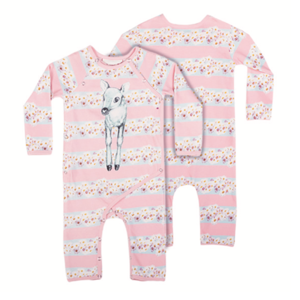 Little Wings by Paper Wings Organic Crossover Romper- Daisy Deer