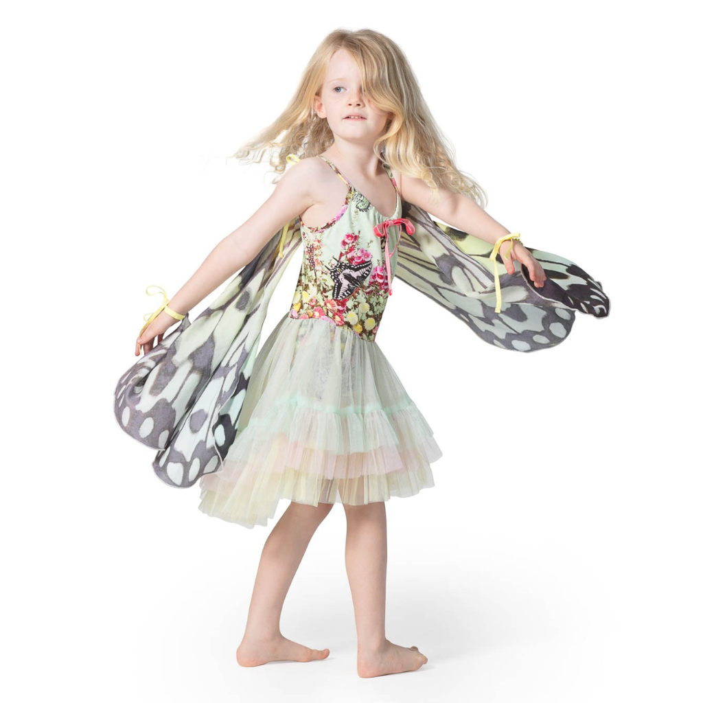Paper Wings Organic Cotton Blend Leotard with Layered Frill Skirt- Flower Garden